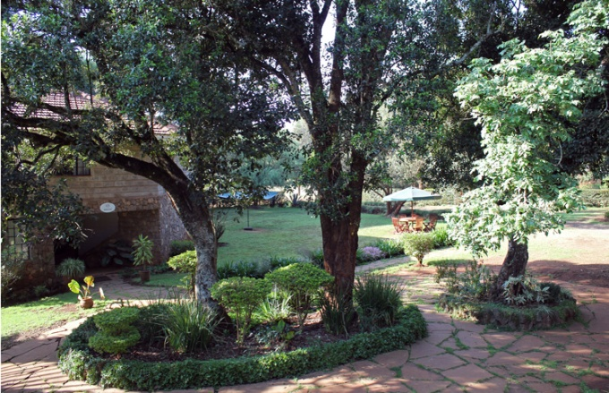 Our first daytime view of our home away from home, Kijiji Guest House @ African International University.