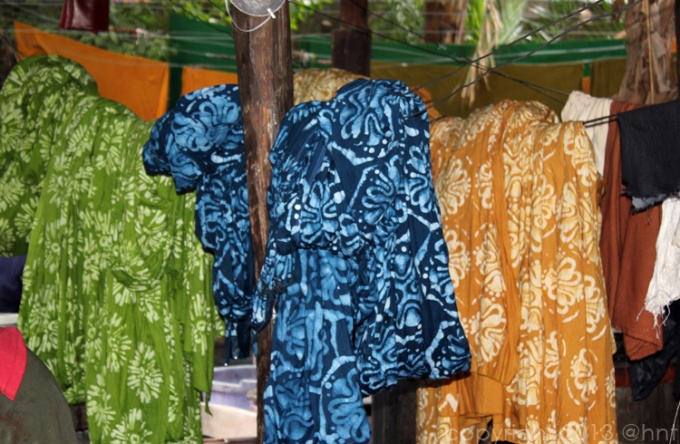 hand-dyed batik left in the air to dry